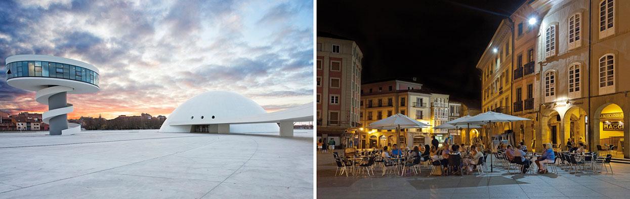 Centro Oscar Niemeyer e praça histórica em Avilés