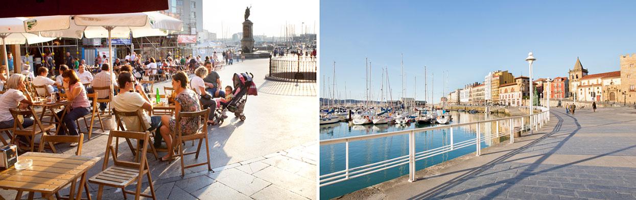 Esplanada e passeio marítimo em Gijón