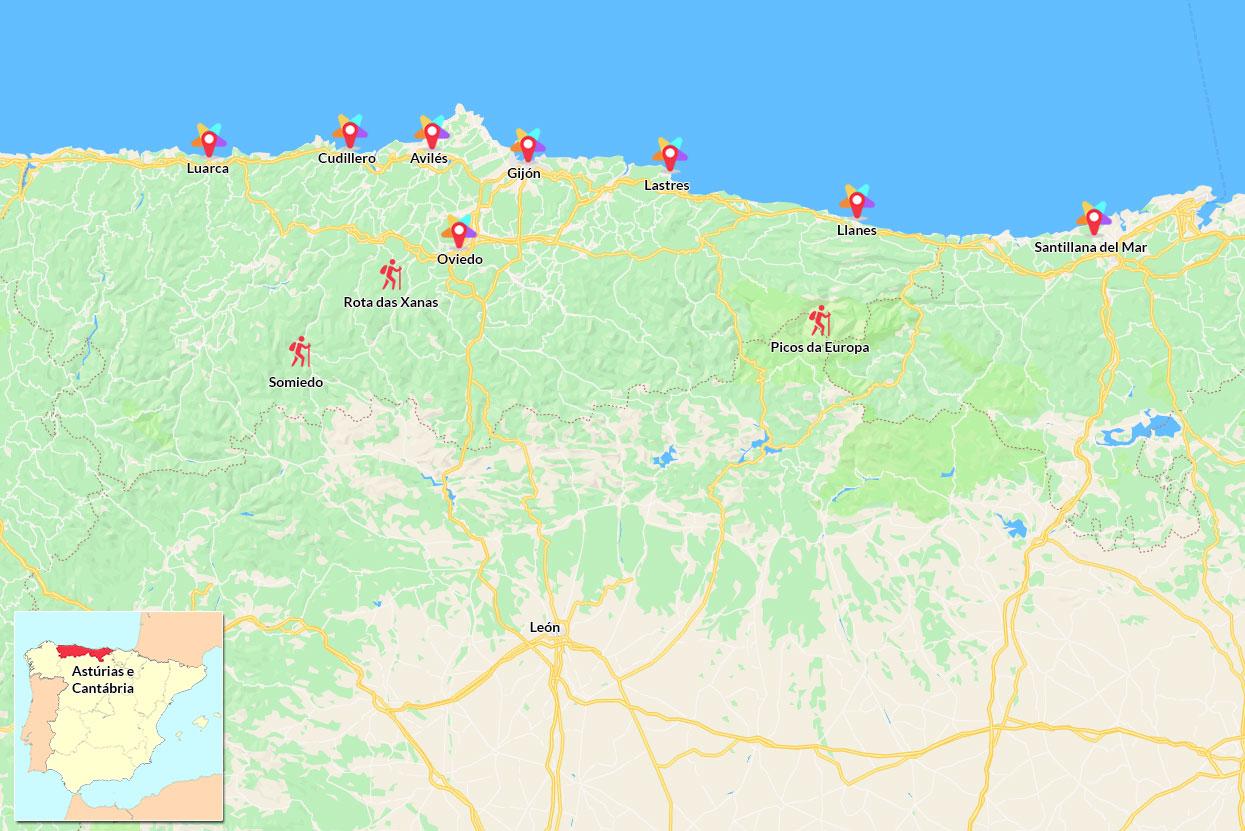 Mapa com roteiro do que visitar nas Astúrias e Cantábria