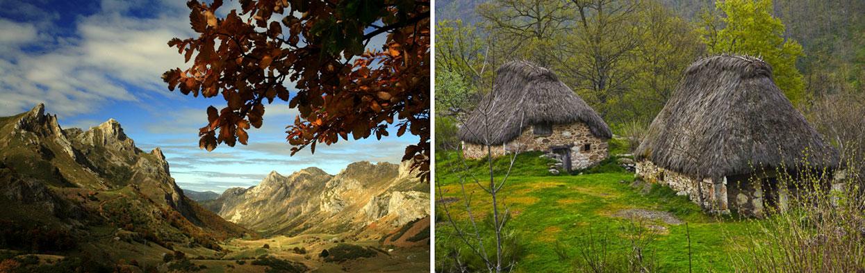 Paisagem e casa tradicional no Parque Natural de Somiedo