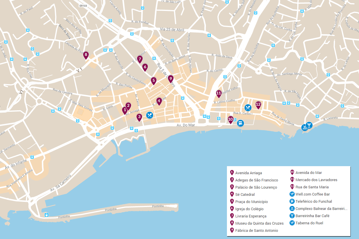 mapa do que visitar no funchal