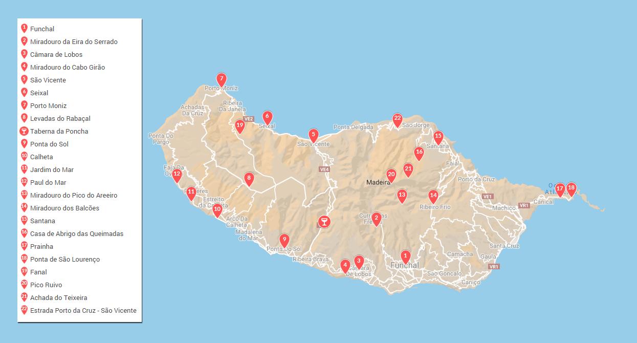 Mapa com os locais a visitar na Madeira