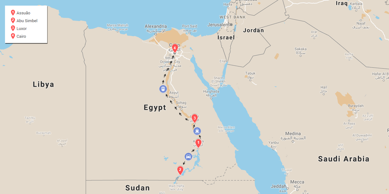 mapa do nosso roteiro no egito