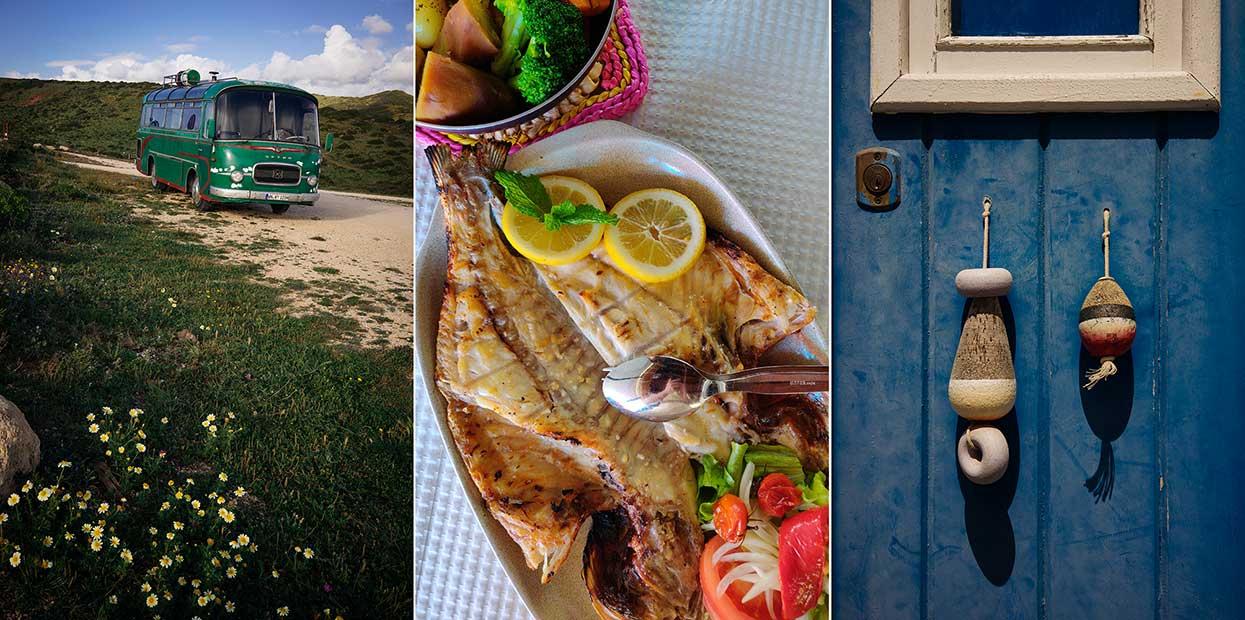 autocarro de uns hippies, peixe grelhado e pormenor de uma porta
