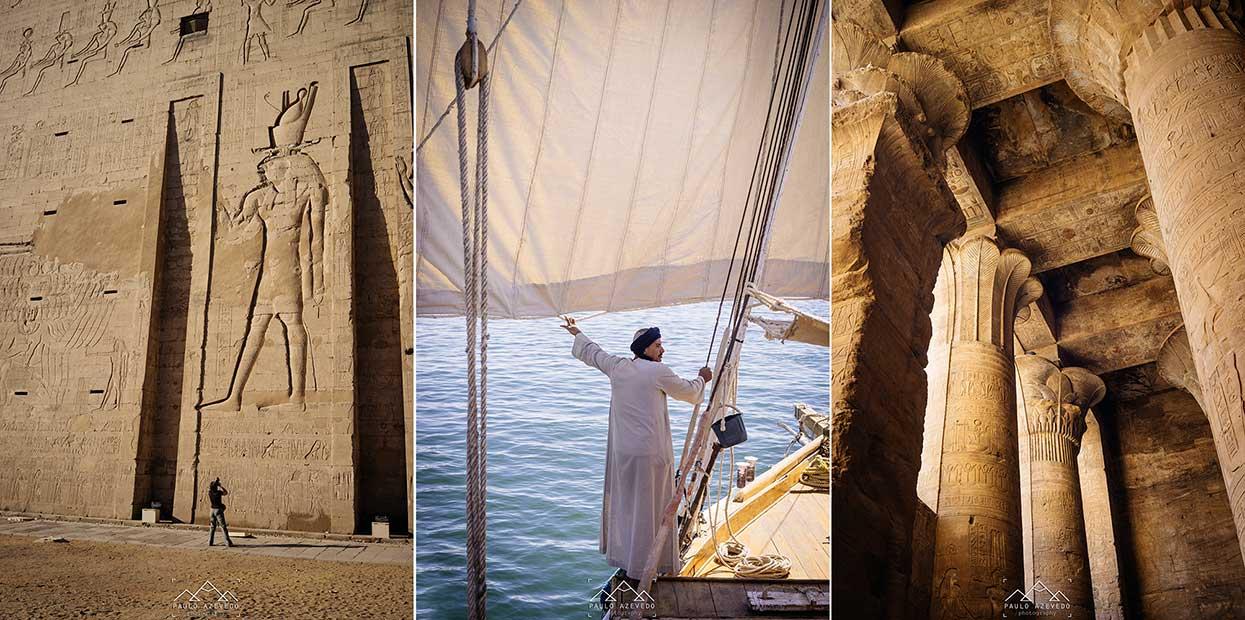 templo de horus e um dos tripulantes do dahabiya