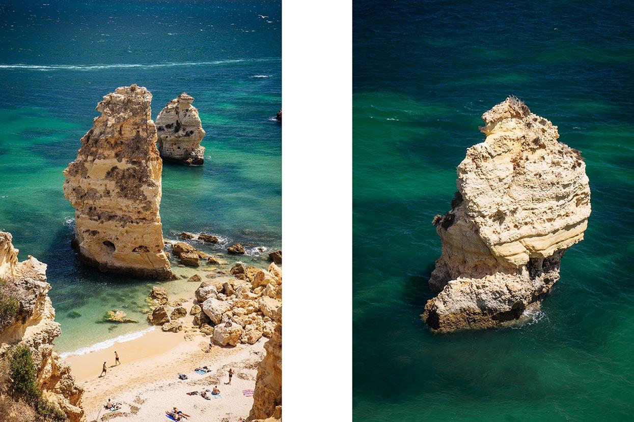 Praia da marinha e pormenor de um rochedo calcário no meio do mar