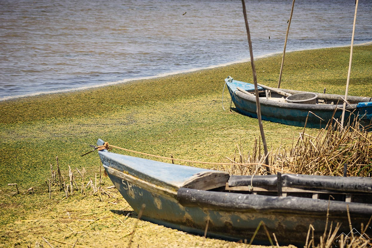 Barcos de pescadores junto à Lagoa de Santo André