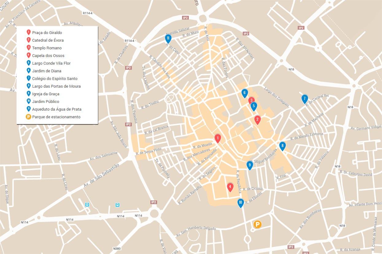 mapa do que visitar em evora
