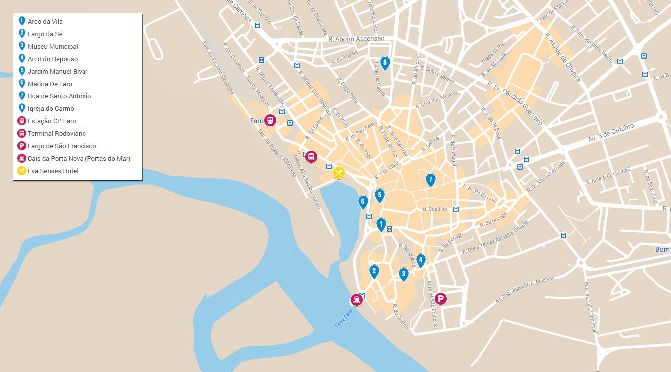 Mapa do que visitar em Faro