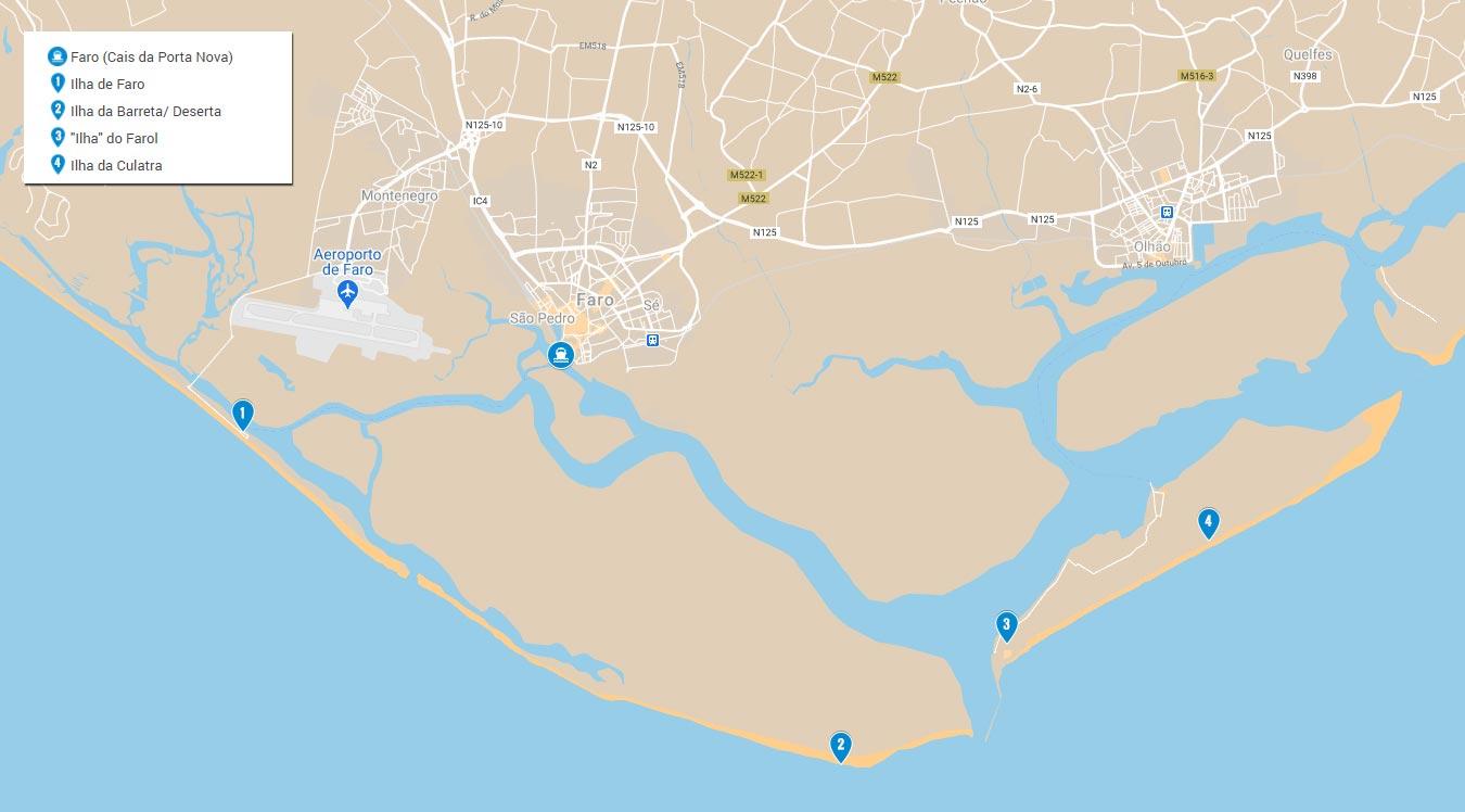 Mapa da Ria Formosa