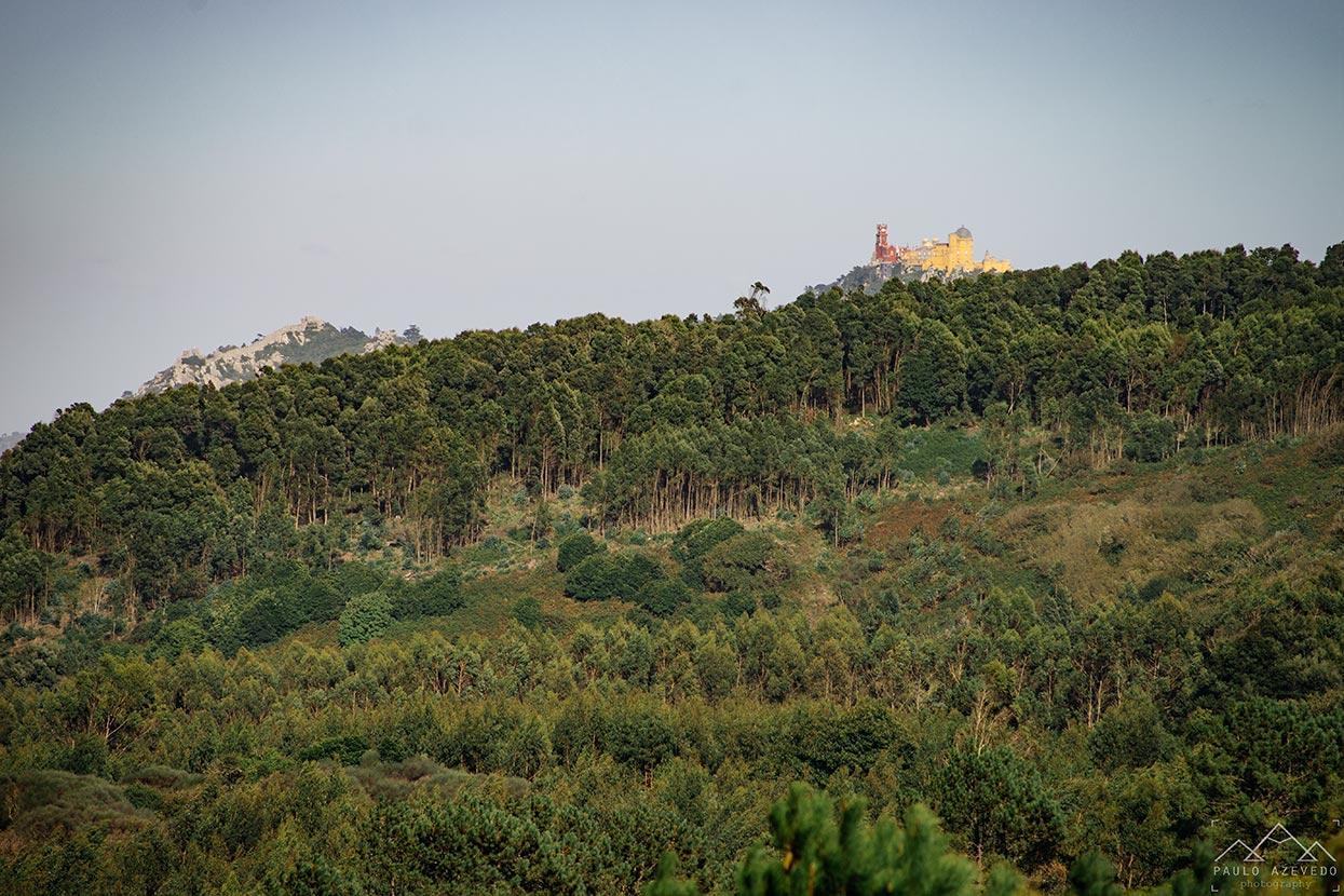 Vista sobre o Palácio da Pena e o Castelo dos Mouros desde Adrenunes